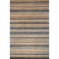 Safavieh Hand-knotted Tibetan Striped Blue/ Grey Wool Rug - 3' x 5'