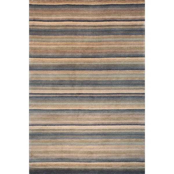 Safavieh Hand-knotted Tibetan Striped Blue/ Grey Wool Rug - 3' x 5'