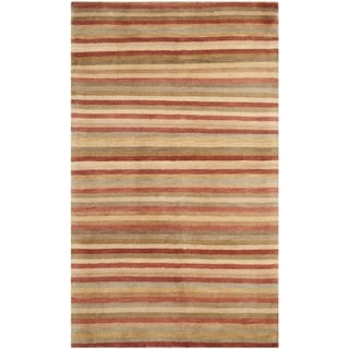 Safavieh Hand-knotted Tibetan Striped Rust/ Beige Wool Rug (3' x 5')