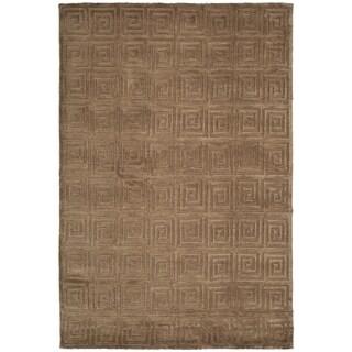 Safavieh Hand-knotted Tibetan Greek Key Deep Bronze Wool Rug (4' x 6')