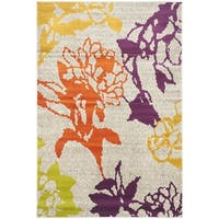 Safavieh Porcello Contemporary Floral Light Grey/ Purple Rug - 3' x 5'