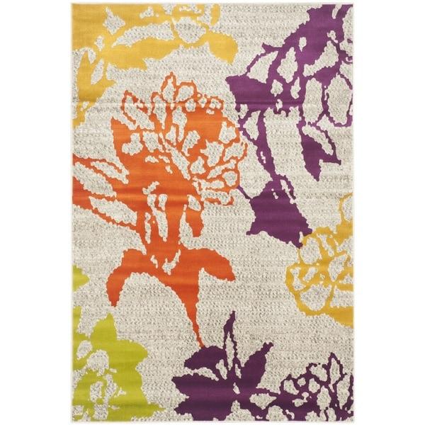 Safavieh Porcello Contemporary Floral Light Grey/ Purple Rug (3' x 5')