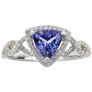 Anika and August 14k White Gold Trillion-cut Tanzanite and Diamond Accent Ring