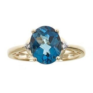 Anika and August 10k Yellow Gold Oval London Blue Topaz and Diamond Accent Ring