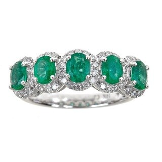 Anika and August 14k White Gold Oval-cut Emerald and Diamond Accent Ring
