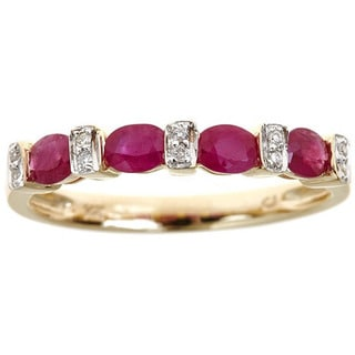 Anika and August 14k Yellow Gold Oval-cut Ruby and Diamond Accent Ring