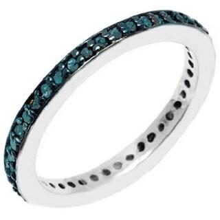 Pori Sterling Silver 2/5ct TDW Genuine Blue Diamond Ring