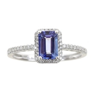 Anika and August 14k White Gold Emerald-cut Tanzanite and Diamond Accent Ring
