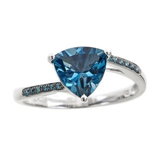 Anika and August 10k White Gold Trillion-cut London Blue Topaz and Diamond Accent Ring