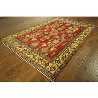 H9103 Red Wool Traditional Super Kazak Hand-knotted Oriental Area Rug (6'2 x 8'10)
