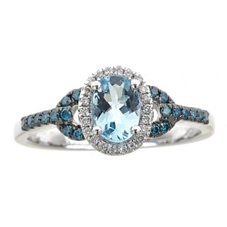 Anika and August 10k White Gold Oval-cut Aquamarine and Diamond Accent Ring