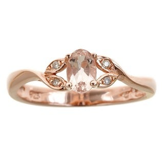 Anika and August Rose Gold Over Silver Oval-cut Morganite and Diamond Accent Ring