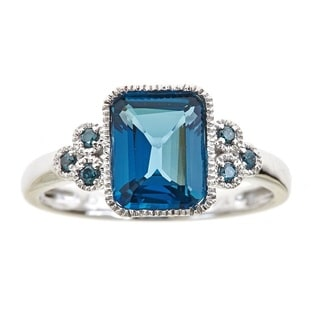 Anika and August 10k White Gold Emerald-cut London Blue Topaz and Blue Diamond Accent Ring