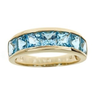 Anika and August 10k Yellow Gold Square cushion-cut Swiss Blue Topaz Ring