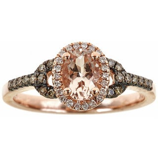 Anika and August 10k Rose Gold Oval-cut Morganite and Diamond Accent Ring