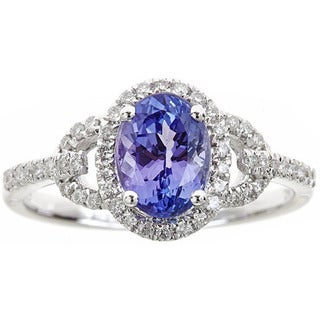 Anika and August 14k White Gold Oval-cut Tanzanite and Diamond Accent Ring