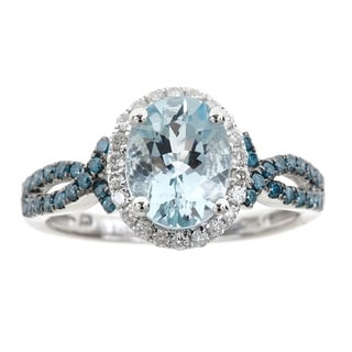 Anika and August 14k White Gold Oval-cut Aquamarine and Diamond Accent Ring