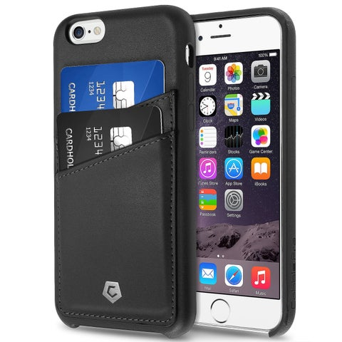 Cobble Pro CobblePro Black Synthetic Leather Protective Case with Wallet Flap Pouch for Apple iPhone 6/ 6s