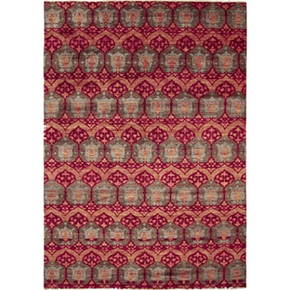 Hand-knotted Firuz Red Rug (10' x 14')