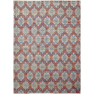 Hand-knotted Mahnaz Blue Area Rug (10' x 14')