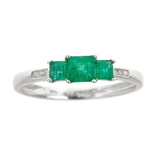 Anika and August 10k White Gold Princess-cut Emerald and Diamond Accent Accent Ring