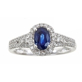 Anika and August 14k White Gold Oval-cut Blue Sapphire and Diamond Accent Ring