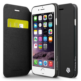 CobblePro Black Leather Case with Stand/ Wallet Flap Pouch for Apple iPhone 6/ 6s