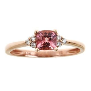 Anika and August 10k Rose Gold Cushion-cut Pink Tourmaline and Diamond Accent Ring