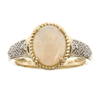 Anika and August 14k Yellow Gold Oval-cut Genuine Australian Opal and Diamond Accent Ring