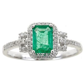 Anika and August 14k White Gold Emerald-cut Emerald and Diamond Accent Ring|https://ak1.ostkcdn.com/images/products/10972402/P17995905.jpg?impolicy=medium