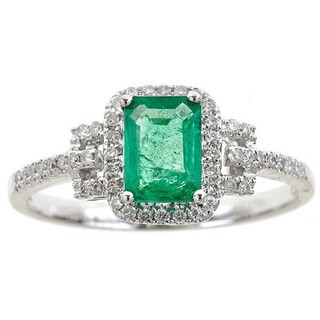 Anika and August 14k White Gold Emerald-cut Emerald and Diamond Accent Ring