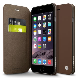 CobblePro Brown Leather Case with Stand/ Wallet Flap Pouch for Apple iPhone 6 Plus/ 6s Plus