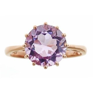 Anika and August 10k Rose Gold Round-cut Pink Amethyst Ring