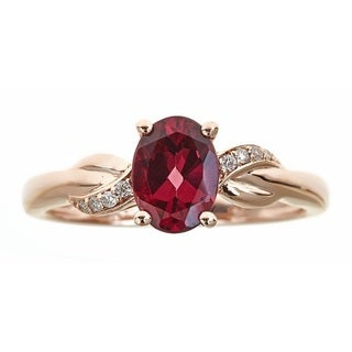 Anika and August 10k Rose Gold Oval-cut Rodholite and Diamond Accent Ring