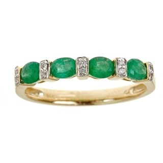 Anika and August 14k Yellow Gold Oval-cut Zambian Emerald and Diamond Accent Ring
