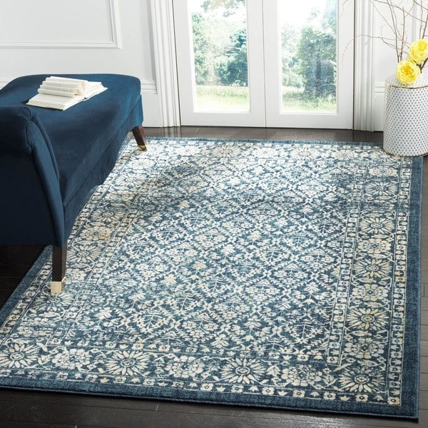 Safavieh Evoke Vintage Oriental Navy Blue/ Gold Distressed Rug (5'1 x 7'6)