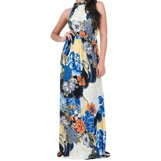 KOH KOH Women's Sleeveless Halter Neck Floral Print Maxi Dress