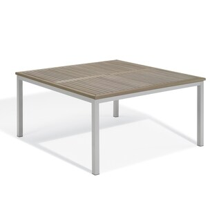 "Oxford Garden Travira 60"" Square Dining Table - Aluminum Frame, Vintage Tekwood Top"