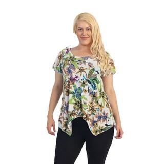 Ella Samani Women's Plus Size Flower Top