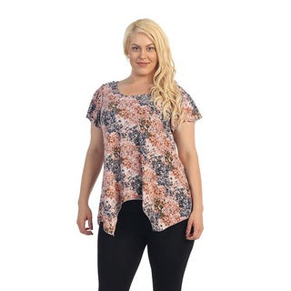 Ella Samani Woman's Plus Size Abstract Floral Top