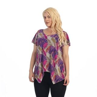 Ella Samani Women's Plus Size Feather Stroke Top
