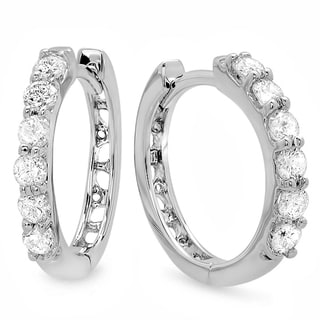 14k White Gold 1/3ct TDW Round Diamond Leverback Hoop Earrings (H-I ,I1-I2)