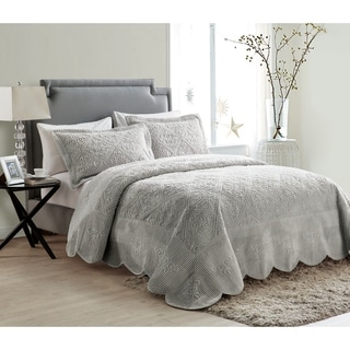 VCNY Westland Plush Quilted 3-Piece Bedspread Set