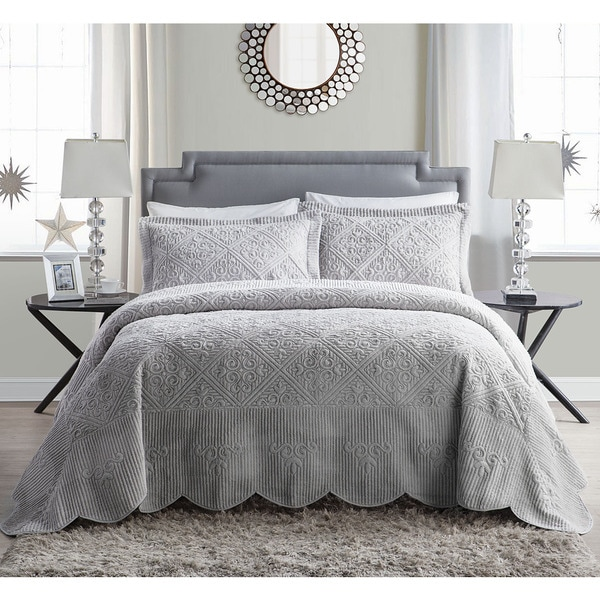 Vcny Westland Quilted Plush 3 Piece Bedspread Set Queen Size In Grey As Is
