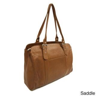 Piel Leather Ladies Buckle Laptop Tote Bag