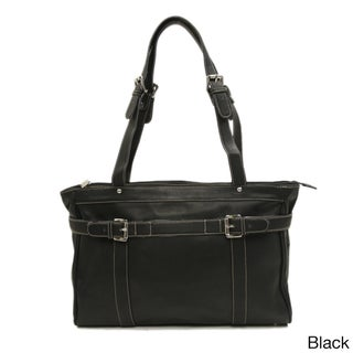 Piel Leather Belted Laptop Computer Tote (3 options available)