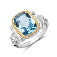 Malaika Two Tone Plated 7.50 Carat Blue Topaz and White Topaz .925 Sterling Silver Ring