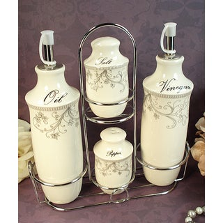 D'Lusso Designs Damask Design Four Piece Oil Vinegar Salt Pepper Set With Metal Caddy