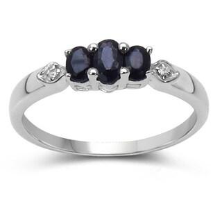 Olivia Leone 0.86 Carat Genuine Blue Sapphire and White Topaz .925 Streling Silver Ring