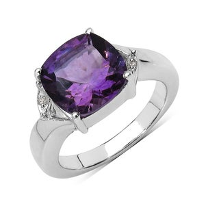 Olivia Leone 3.56 Carat Genuine Amethyst and Diamond .925 Sterling Silver Ring